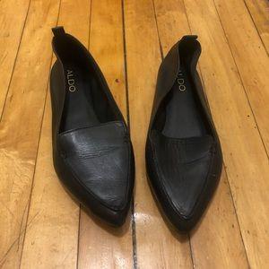 Aldo black leather flats